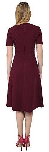 Women's Dress Flare and Midi Business Office Work Burgundy Fit Marycrafts PngSa4a
