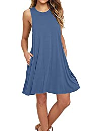 Women's Sleeveless Pockets Casual Swing Dresses