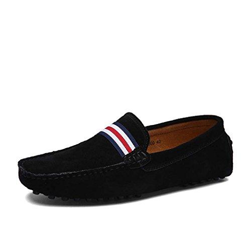 ZXCV Zapatos al aire libre Conducción de la primera capa de zapatos de los hombres de cuero de ocio de moda matte zapatos de frijol anti-terciopelo Negro