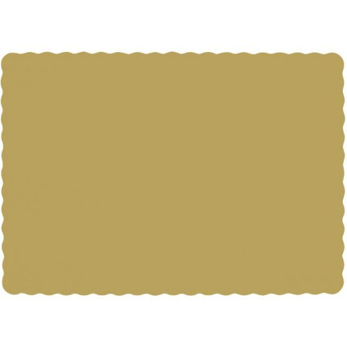 Party Perfect Solid Color Placemats Tableware, 50 Pieces, Made from Paper, Gold, 10