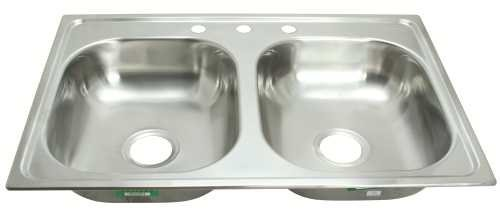 PROPLUS 81651326459 33 x 19 x 8 3-Hole Double Bowl Kitchen Sink For Mobile Homes, 20 Gauge, Stainless Steel by ProPlus by ProPlus