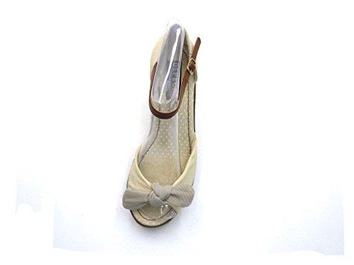 Sandalette Beige Dames Compensée D'été Chaussures À Semelle Compensées Depeche Sandales 1482 pwE6qpa