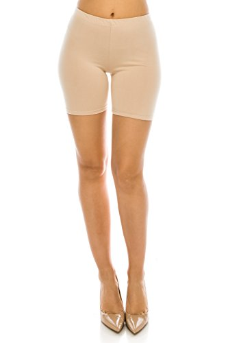 (C&C Style Women's Stretch Jersey Bike Yoga Running Workout Bermuda Shorts Tights Pants Under Short Leggings S to 3XL Plus (Small, Natural))
