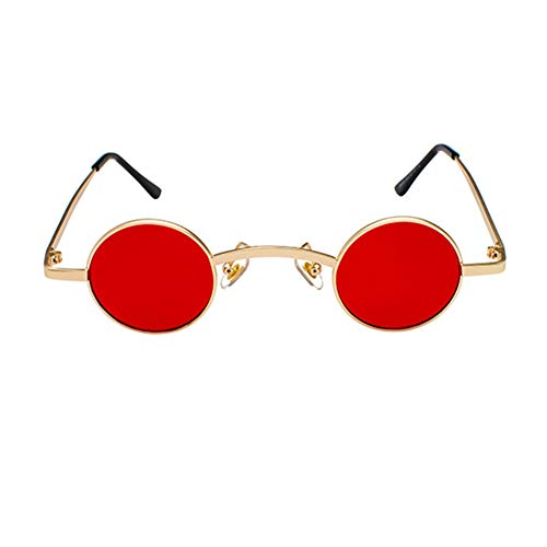 Lunettes De Vue En Rouge Protection Mode Steampunk Uv Métal Rétro Petit Soleil Avec Cadre Goyajun Rondes Or Sdq5yRdw