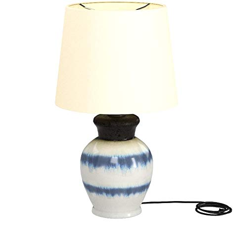 "Amazon Brand – Stone & Beam Table Lamp with Ceramic Base, Bulb Included, 16.5""H, White and Blue"