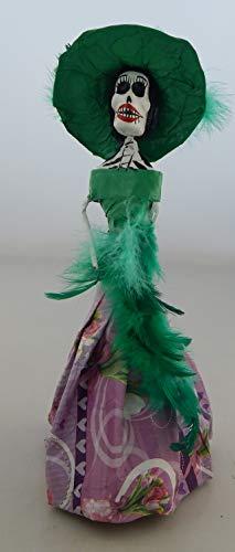 COLOR Y TRADICIÓN Mexican Catrina Doll Day of Dead Skeleton Paper Mache Dia de Los Muertos Skull Folk Art Halloween Decoration # 823 for $<!--$17.99-->