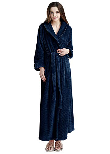 (Womens Robe Long Fleece Bathrobe Warm Waist Belt Super Soft Spa Plush Full Length Bath Robe with Shawl Collar (Large/XLarge, Navy Blue))