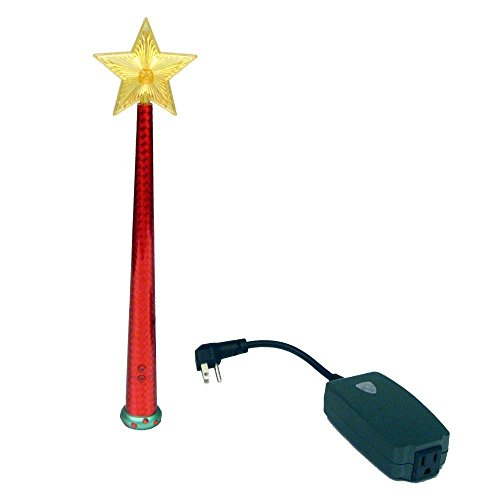 Magic Light Wand (Red - Remote Control with Enchanting Sound for Decorative Lights! Use with Christmas Trees, Night Lights, Festive String Lights and More (Star For Christmas Tree)