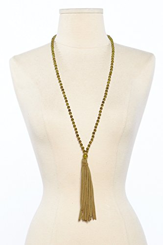 Womens Glass Beads With Suede Tassel Long Fashion Necklace CPN0664 (Suede Fashion Necklace)