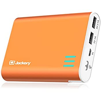 External Battery Charger Jackery Giant+ 12000mAh Dual USB Portable Battery Charger / External Battery Pack / Phone Backup Power Bank with Emergency Flashlight for iPhone, Samsung and Others - Orange