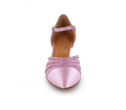 TDA Dance Shoes 6cm Glitter Heel Pumps Toe Mid Wedding Satin Closed Women's Mesh Latin Heel Pink rUTqr
