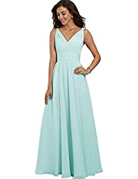 Beauty Bridal Womens V Neck Chiffon Bridesmaid Dresses Formal Long Evening Party Gowns with Pockets Z55