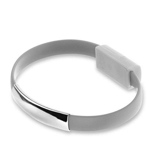 USB Ladekabel, bestga Mini Short flach Armband Armband Ladekabel Daten Kabel USB 2.0Für iPhone 66PLUS iPhone 55S 5C iPad iPod Nano grau