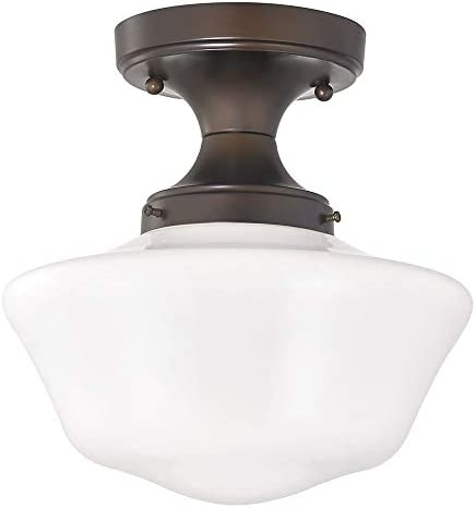 10-Inch Wide Bronze Retro Style Schoolhouse Ceiling Light
