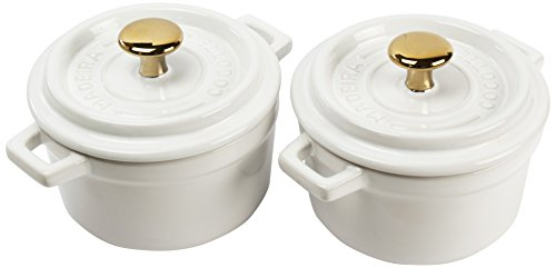 Madeira by Architec Mini Cocotte Lidded Baking Dishes, Set of 2, White Ceramic.5 Quart Each