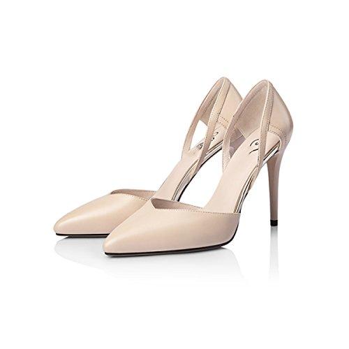 Damenschuhe Voorjaar Lederen Schoenen Met Hoge Hakken Individuele Schoenen Vrouwelijke Acute Stiletto Pumps Flat Mond Damenschuhe Abrikoos (9.7cm)