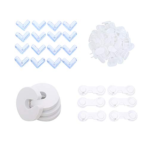 MK.Bear Child Protection Kit 16 Corner Protectors 6 Child Lock 4 Proofing Door 6 Outlet Covers Baby Proofing Kit Package Contains a Variety of Styles to Protect Your Baby