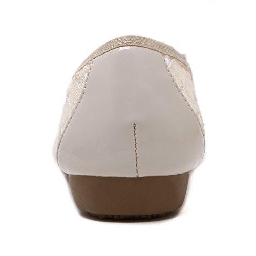 AgooLar Damen Schließen Zehe Ziehen Auf kunstleder Flache Schuhe Aprikosen Farbe+Spitze