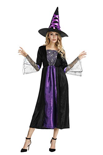 Adult Witch Costume for Women Sorceress Dress with Wicked Witch Hat Sexy Halloween Costumes, Purple ()