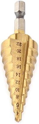 穴ドリルビット - 高速スチールチタンコーティングステップドリルビット穴カッター六角シャンクパワーツール4-22mm、1パック