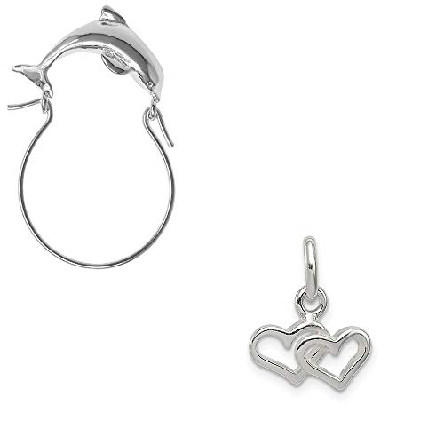 - Mireval Sterling Silver Polished Double Heart Charm on a Dolphin Charm Holder