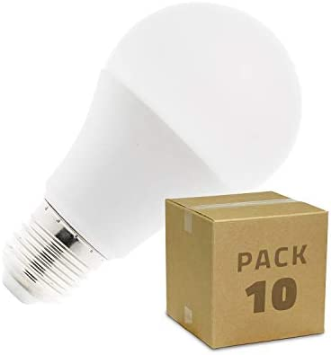 Pack 10 Bombillas LED E27 A60 5W Blanco Frío 6000k-6500K efectoLED