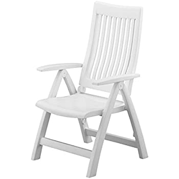 Premium Patio Chairs Outdoor Dining Wood Chair Folding Reclining Wooden Deck Furniture  sc 1 st  Amazon.com & Amazon.com : Kettler Rimini High Back Chair White Resin : Patio ...