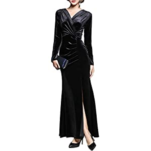Ababalaya Long Sleeve Wrap Velvet Long Formal Dresses Cocktail Dress