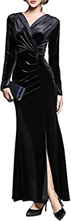 Ababalaya Women's 90s Retro Velvet Long Bodycon Side Slit Formal Evening Gown,Black,S
