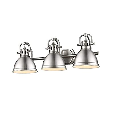 Golden Lighting 3602-BA3 PW-PW Duncan - Three Light Bath Vanity, Pewter/Pewter Finish
