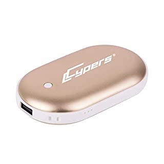Cypers Double-Side Rechargeable Hand Warmer 5200mAh Portable Power Bank for iPhone, Samsung Galaxy and Android Phone(Gold)