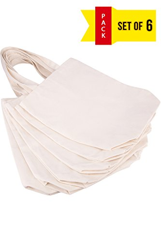 (Lily Queen Natural Canvas Tote Bags DIY for Crafting and Decorating Reusable Grocery Washable Bag Shopping Bag (Natural - 6 Pack))