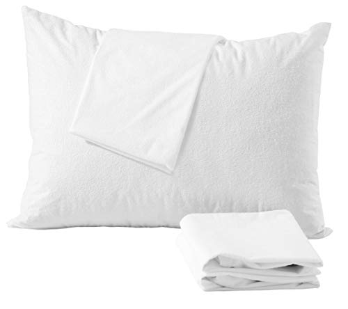 Waterproof Pillow Protectors 4 Pack Standard Zippered Terry Cotton White Breathable Membrane Anti Allergy Dust Mite Absorbent Premium Bed Bug Encasement Hypoallergenic Covers Bacterial Fabric Cases