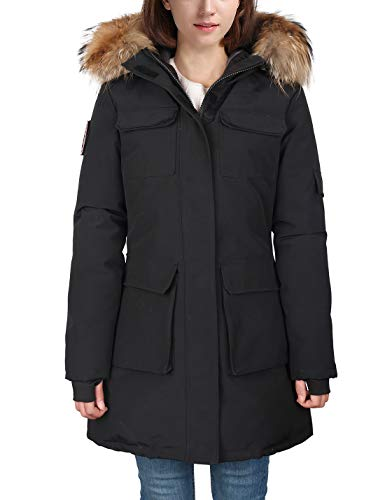 Expedition Down Parka - HARD LAND Parka Jacket Women Goose Down Winter Coats Waterproof Mid Length Arctic Military Jacket with Real Fur Hood Black Size S