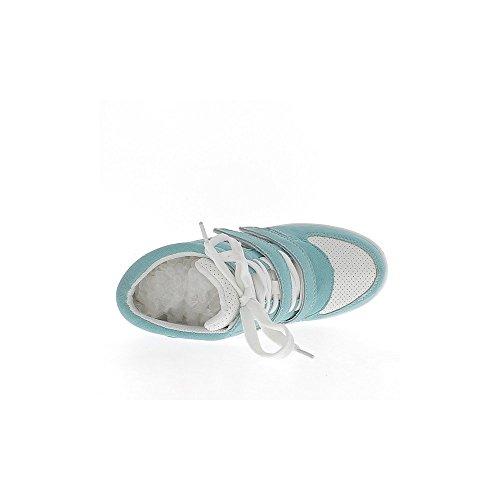 Baskets compensées montantes blanches et bleues à talon de 7,5cm