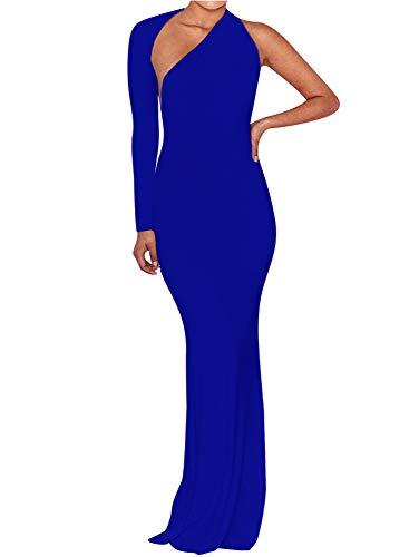 BEAGIMEG Women's Sexy Elegant One Shoulder Backless Evening Long Dress Royal Blue
