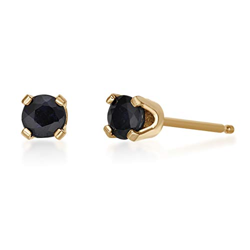 .30 CT Round 3MM Blue Sapphire 14K Yellow Gold Stud Birthstone Earrings ()