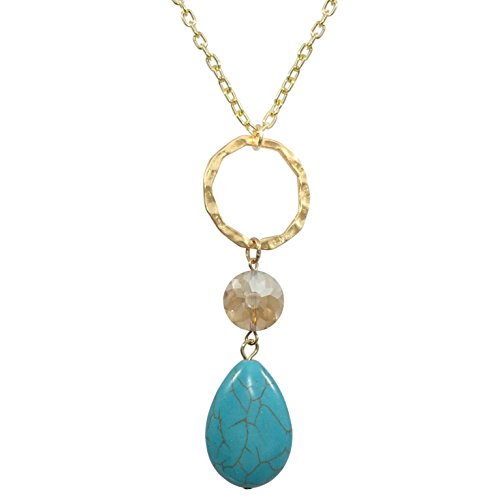 Gypsy Jewels Long Simple Chandelier Crystal Bead Drop Ring Necklace (Simulated Turquoise Gold ()