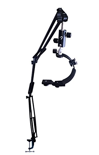 5ft Articulating Arm Camera Mount - Flexible Desk Clamp Camera Mount for DSLR/Video Camera with C Shape Stabilizer Handle - 5FT Reach - Desk Mount Camera Crane by Heron Equipment