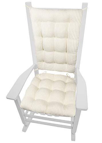 Ticking Stripe Natural Rocking Chair Cushion Set - Size Standard - Seat Pad and Back Rest with Ties, Reversible, Latex Foam Fill - Made in USA (Presidential/Beige - Ivory)