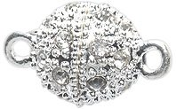 Shipwreck Beads Electroplated Metal Ball Magnetic Clasp with Rhinestone, 10 mm, Silver, 3-Pack