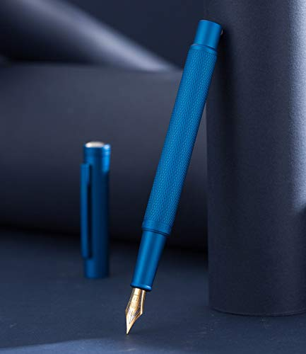 Hongdian Blue Forest Fountain Pen Fine Nib, Classic Design with Converter and Metal Pen Case, The Light of Hope Serise
