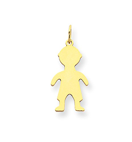 14k Yellow Gold Solid Polished Engravable Plain Small .011 Gauge Engraveable Boy Charm (Gauge Engraveable Boy Charm)