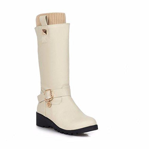 de altas botas cuña de Martin con de Terry botas botas Beige invierno botas tacón qwXIC4T