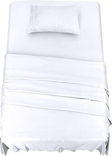 Utopia Bedding Juego Sábanas de Cama - Microfibra Cepillada - Sábanas y 1 Funda de Almohada - (Cama 90, Blanco)