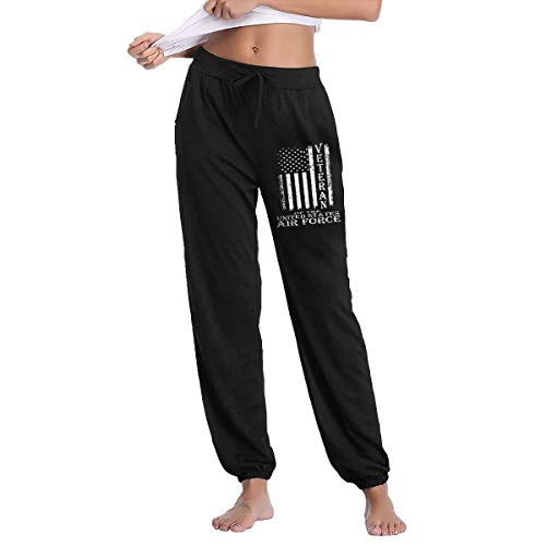 Women's Vintage Proud Air Force Veteran American Flag Sweatpants with Pockets Lounge Pants Black