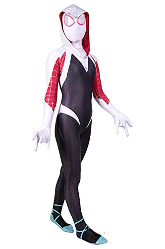 (COSFANCY Kids Spider-Verse Cosplay Costume Jumpsuit (White,)