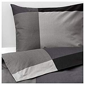 IKEA Brunkrissla Duvet Cover and Pillowcase, Black/Gray, Twin ()