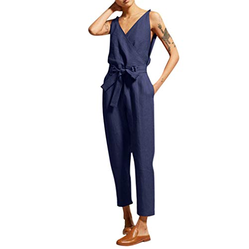 Yucode Women Jumpsuit Sports Outfit,Off Shoulder Elastic Waist Beam Foot Casual Tracksuit Jumpsuits with Pockets Blue
