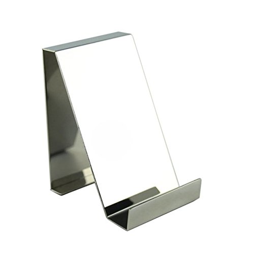 Stainless Steel Finish Phone - Chris-Wang 1Pc Mirror Finish Stainless Steel Office Desktop Name Card Display Desk Stand Business Card Holder File Organizer(Lengthways, Silver)